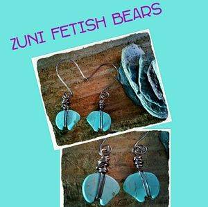 🌻 HOWLITE GEMSTONE ZUNI FETISH BEAR EARRINGS 🌻